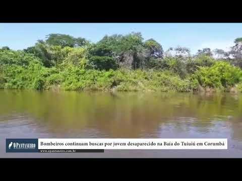 Bombeiros continuam buscas por jovem desaparecido na Baía do Tuiuiú em Corumbá