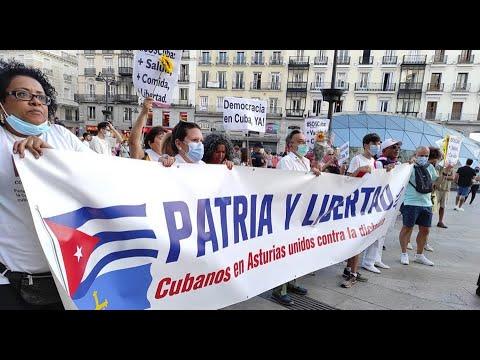 Cubanos marcharon por las calles de Madrid al grito de ¡Cuba es una dictadura!