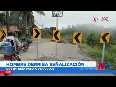 Hombre derriba señalización que impedía paso a vehículos