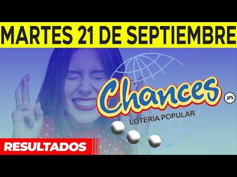 Sorteo Lotería popular Chances del Martes 21 de septiembre del 2021