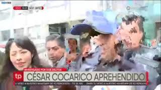 Momento en el que el aprehendieron al exministro de Desarrollo Rural César Cocarico. Unitel