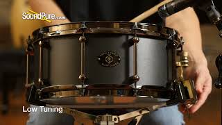 Noble & Cooley 6x14 Alloy Classic Snare Drum, Black, Flanged Hoops Quick 'n' Dirty