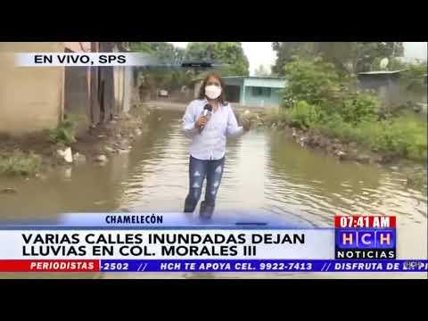¡Anegadas tras recientes lluvias las calles en zona baja de Chamelecón!