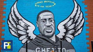 Con este mural rinden un homenaje a George Floyd, el afroestadounidense que murió durante su arresto