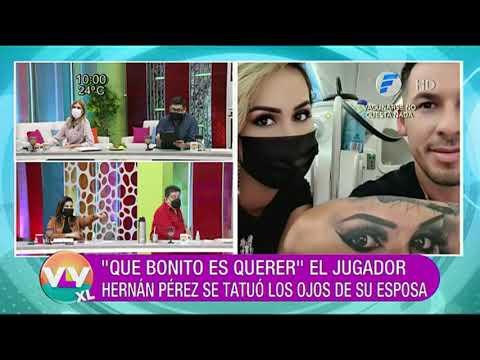 El Jugador Hernán Pérez se tatuó los ojos de su esposa.
