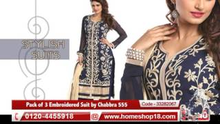 Homeshop18.com - Pack of 3 Embroidered Suit by Chabbra 555