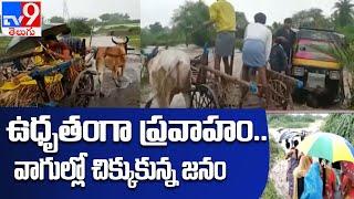 వనలు , వరద కష్టాలు జనం పడుతున్న బాధలు... ఒళ్లు జలదరించే దృశ్యాలు | Heavy rains in Telangana - TV9 - TV9