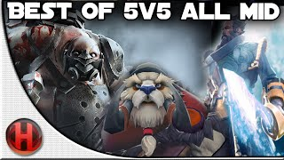 Dota 2 - Best of 5v5 ALL MID | Pudge, Kunkka & Tusk