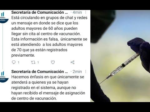 Autoridades de salud reiteran que la vacunación es exclusivamente para mayores de 70 años