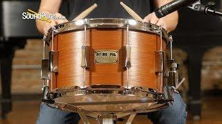 Pork Pie 8x14 Maple Snare Drum Quartered Mahogany Veneer-Quick 'n' Dirty