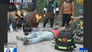 Desprendimiento de tierra dejó dos motoristas heridos en Boca del Monte
