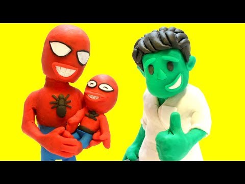connectYoutube - Baby Spiderman is cold - Superhero Play Doh Cartoons & Stop Motion Movies for kids