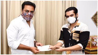 Hero Ram Handed Over the Cheque Of 25 Lakhs To KTR | TFPC - TFPC