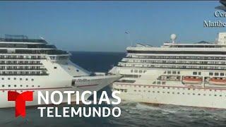 Así fue el impresionante choque de dos cruceros en Cozumel, México   Noticias Telemundo