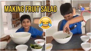 Allu Arjun Son Allu Ayaan Preparing Fruit Salad For His Father | Allu Ayaan Cooking Fruit Salad - TFPC