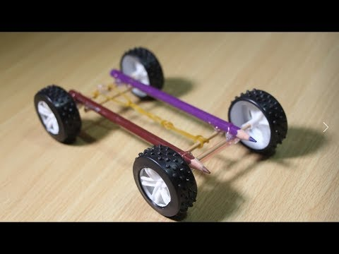 How to make a Rubber Band powered Car with pencil