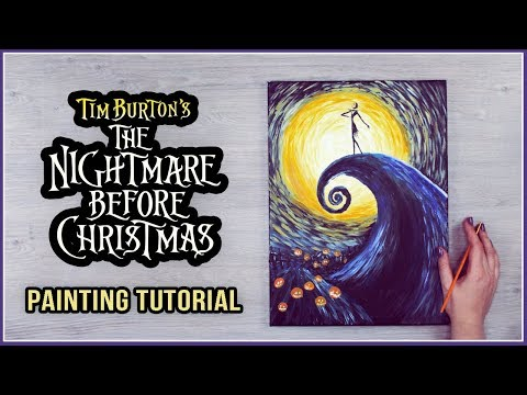 Acrylic Painting on a Canvas Tutorial for Halloween | The Nightmare Before Christmas x Van Gogh