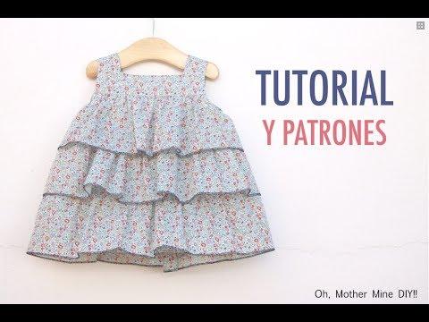Aprender a coser: vestido de volantes para niñas (patrones gratis tallas hasta 7 años)