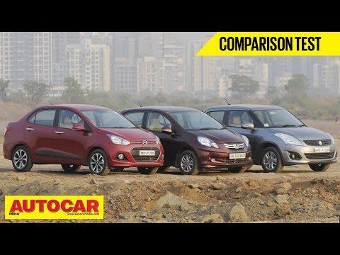 Honda Amaze Vs Hyundai Xcent Vs Maruti Dzire | Comparison Test | Autocar India
