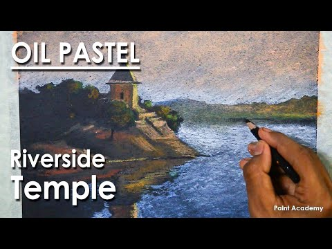 Oil Pastel Drawing : A Composition on Riverside Temple
