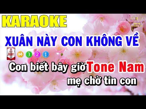 Xuân Này Con Không Về Karaoke Tone Nam Nhạc Sống | Trọng Hiếu