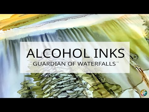 painting a landscape with alcohol inks on yupo paper