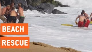 Lifeguards Rescue Couple on Jetski | The Wedge Waves