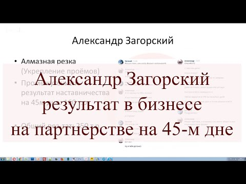 Александр Загорский, результат в бизнесе на партнерстве на 45-м дне