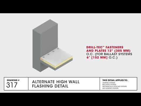 GAF Alternate High Wall Flashing Detail for TPO Commercial Roofing - Drawing 317