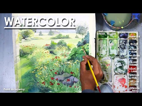 Watercolor Spring Season Landscape Painting | step by step