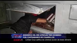Miembros del ERD apresan tres hombres por contrabando de cigarrillos