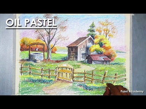 Garden House with Well Pastel Drawing step by step