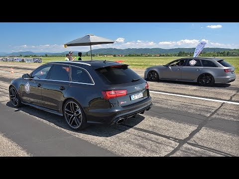 Audi RS6 Avant C7 with Straight Pipes! Revs & Drag Race!