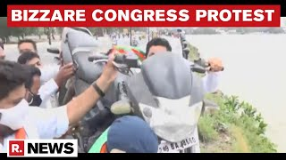 Telangana: Congress Stages Bizzare Protest Over Fuel Prices, Throws Bike In Hussain Sagar Lake