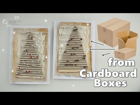 NO COST Recycled DIY Cardboard Christmas Card ♡ Maremi's Small Art ♡
