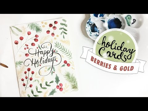 HOLIDAY CARD #5: Floral Christmas Berries & Gold Watercolour Tutorial