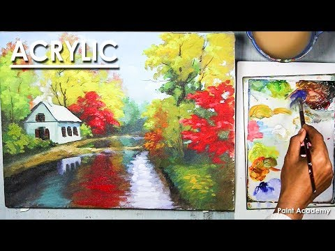 Acrylic Painting : A Spring Landscape step by step