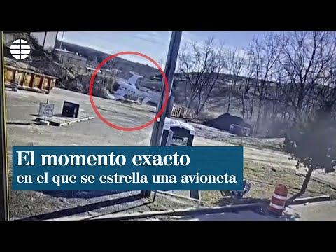Una cámara de seguridad capta el momento en el que una avioneta se estrella