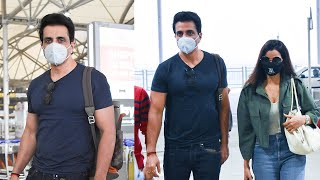 Actor Sonu Sood With His Wife Exclusive Visuals @ Hyderabad Airport | Celebrities Airport Videos - TFPC
