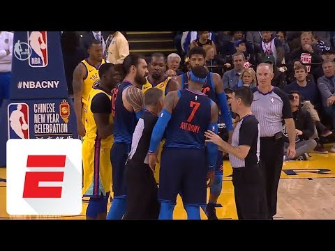 Carmelo Anthony and Kevin Durant get in each other's grills during Thunder-Warriors | ESPN