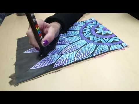 Drawing a Feather Mandala Doodle on Painted Paper with Paint Pens