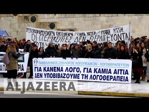 Greek medics protesting healthcare cuts