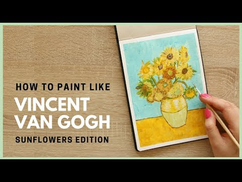How to Paint Sunflowers by Vincent van Gogh with Acrylic Paint | Art Journal Thursday Ep. 36