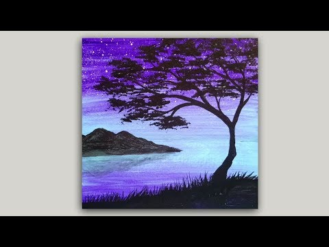 Tree Silhouette Acrylic Painting Easy Landscape Painting Demonstration