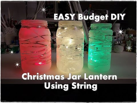 Budget DIY Christmas Jar Lantern Using String ♡ Maremi's Small Art ♡