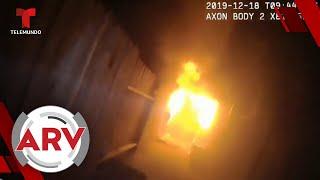 Policías se juegan la vida para rescatar a una pareja de un incendio   Al Rojo Vivo   Telemundo