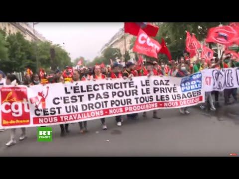 Paris : manifestation contre la privatisation du secteur de l'énergie