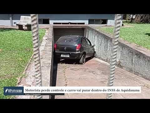 Motorista perde controle e carro vai parar dentro do INSS de Aquidauana