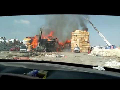 شاهد احتراق احد احواش الخشب في منطقة بير ناصر الرباط لحج صباح اليوم