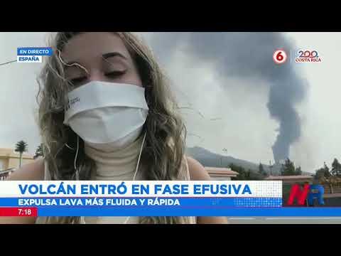 Volcán en La Palma de islas Canarias entró en fase efusiva